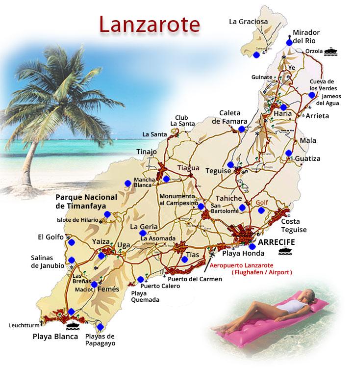 karte lanzarote Lanzarote Inselkarte mit den schönsten Sehenswürdigkeiten karte lanzarote